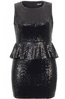 Black Full Sequin Sleeveless Peplum Bodycon Evening Party Dress PLUS SIZES 16-20