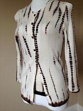 EUC Oscar De La Renta sweater set cashmere & silk ivory brown tye dye twinset