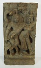Antique Asian India Religious Carved Wood Panel Buddhism Dancing Shiva Parvati