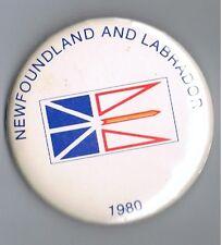 """1980 Newfoundland & Labrador Flag Banner Canada 2.5"""" Advertising Pinback Button"""