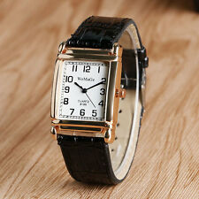 Classic Rectangle Gold Dial Analog Quartz Leather Band Strap Women Wrist Watch
