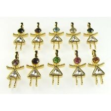 Wholesale Lot 10 Gold Plated Austrian Crystal Rhinestone Girl Figural Charms