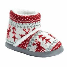 Toddler Girl's Size Large (1/2) Red & White Reindeer & Tree Knitted Slippers NEW
