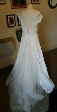 Pearce Fionda vintage 30s style off shoulder wedding dress gown mesh train 10 12