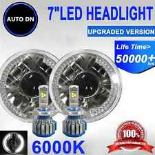 """7"""" H4 Housing Round Sealed Beam Halo Headlight Projector LED Bulb High Low 2x"""