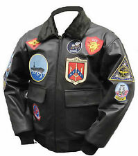 Tom Cruise Top Gun Black Fur Real Leather All Sizes Available