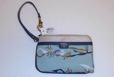 NEW FOSSIL IVY TURQUOISE LIGHT BLUE MULTI PVC WRISTLET,WALLET
