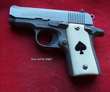 Colt Grips Mustang Grips Real Bone Grips with Buffalo Horn Ace of Spades inlay!