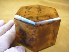 (BOX-260) BURL BOX hexagon med Thuya Wood African carved carving Morocco Exotic
