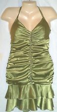 JESSICA McCLINTOCK GREEN SATIN DRESS HALTER BODY CON SZ 6