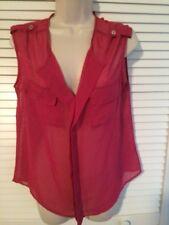 BOBBIE BROOKS Womans Size M Pink Sheer Chiffon Sleeveless Blouse Shirt. NEW