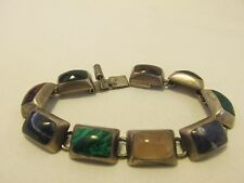 Sterling Silver 925 Mexico Bracelet Inlay Multi Color Stone HALLMARK TZ-10