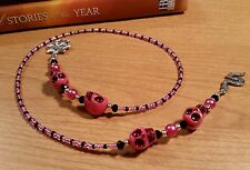 Handmade Thong Beaded PINK & BLACK SKULL BOOKMARK with Spider & Snake