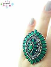 Turkish Ottoman 925 Sterling Silver Jewelry Authentic Emerald Ring Size 9 R1168