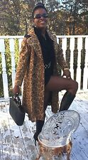Designer Russian Princess Animal print on Leather Trench jacket coat S 0-4