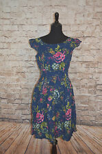 Modcloth Get What you Dessert Dress flowers  NWT Sz S fits M Emily and Fin Navy