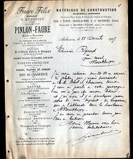 """AUBUSSON (23) MATERIAUX de CONSTRUCTION """"PINLON & Felix FAURE"""" en 1907"""