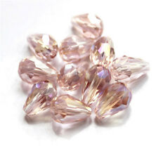 20PCS Teardrop Shape Tear Drop Glass Faceted Loose Crystal Beads Pink ab