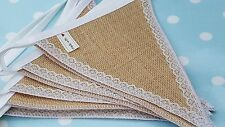 HESSIAN & LACE Fabric Bunting SOLD BY THE METER  /  Wedding Christmas Party