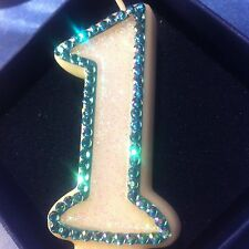 1st First Birthday (one) CANDLE Diamante Topper Blue Boy Baby Party FREE POSTAGE