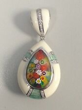 Pendant Millacreli Murano White and Multi Color Drop  With Czs and Light Green