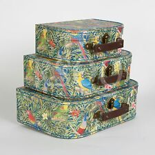 Vintage Suitcases Set of 3 Storage Boxes - Parrot Paradise