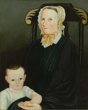 AMERICAN SCHOOL, 19TH CENTURY | Portrait of a Mother and Child Sitting in a P...