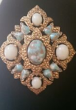 Vintage Large Sarah Coventry Gold Tone Turquoise Faux Pearl Pin Brooch Pendant
