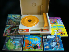 Fisher-Price Record Player Phonograph #825 w/ 7 Read Along Records & Books