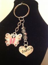 Auntie  and butterfly key ring
