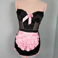 Victorias Secret French Maid Apron Lingerie Satin Bow Black Pink Babydoll 34B