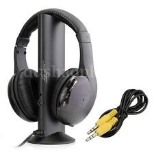 5 en1 Sans Fil Ecouteur Casque Audio HiFi Moniteur FM Radio MIC Pr PC TV DVD VCD