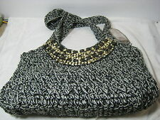 Sun 'N' Sand  Accessories Luna Sea Chrochet Tote Bag Black/Gray with Beads NWT