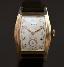 ALL ORIG! 30s GRUEN 410c 15J ART DECO HEXAGON SWISS WATCH MEN 10K GF