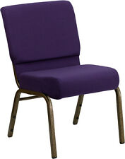 HERCULES Series 21 Extra Wide Royal Purple Fabric Stacking Church Chair Chair