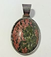 "Unakite Pendant Silver Base Metal 2.25"" x 1 3/8"" Cabochon Green and Pink"