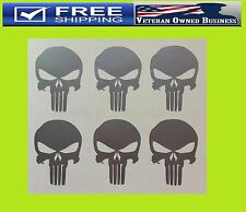 (x6) PUNISHER SKULL SILVER VINYL DECAL STICKERS America Sniper Car iPhone Galaxy