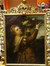 Huge 18th Century Italian Old Master Girl With Fruit Basket Portrait Painting