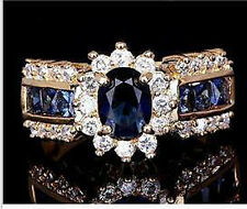 Size9 Men's fashion 18k yellow gold filled Sapphire white zircon Wedding Ring