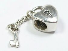 GENUINE PANDORA 925 ALE SILVER HEART LOCKET & KEY ON CHAIN CHARM BEAD 790971