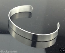 Men's High Polished Silver Tone Solid 316L Stainless Steel Blank Cuff Bangle
