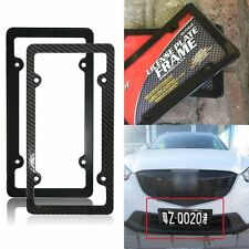 Black Carbon Fiber Custom License Plate Tag Snap Fit Frame for Auto Car Truck