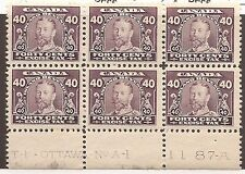 CANADA REVENUE FX9 MINT PLATE BLOCK NH