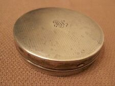 antique sterling silver hand engraved circular compact vanity case box