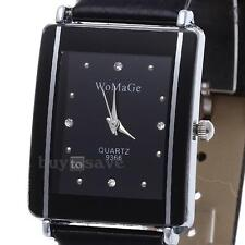 Montre Quartz Bracelet en Cuir Strass Rectangle Wrist Watch Femme Déco NOIR