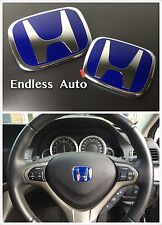 3PCS JDM BLUE H FRONT REAR STEERING EMBLEM BADGE FOR JAZZ FIT GK GP 2014-2017