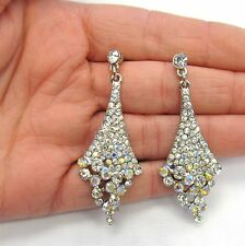 Silver Plated Iridescent Rhinestone Crystal Dangle Earrings # 1010 Wedding Prom