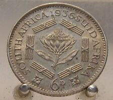 1936 South Africa Silver 6 Pence, Key date old World Silver Coin