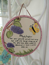 RUSS BERRIE,MOTHER ROUND CERAMIC PLAQUE ,FOR YOUR GENTLE WARMTH AND CARING