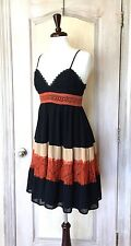 NEW Anthropologie HD in Paris black nude rust Babydoll Swing Tiered Lace Dress M